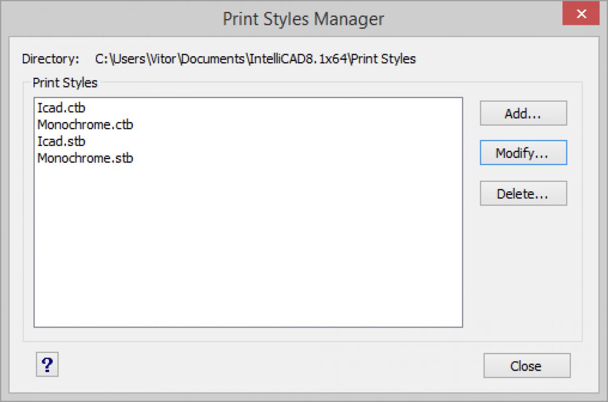 IntelliCAD Administrador de estilos de impresión
