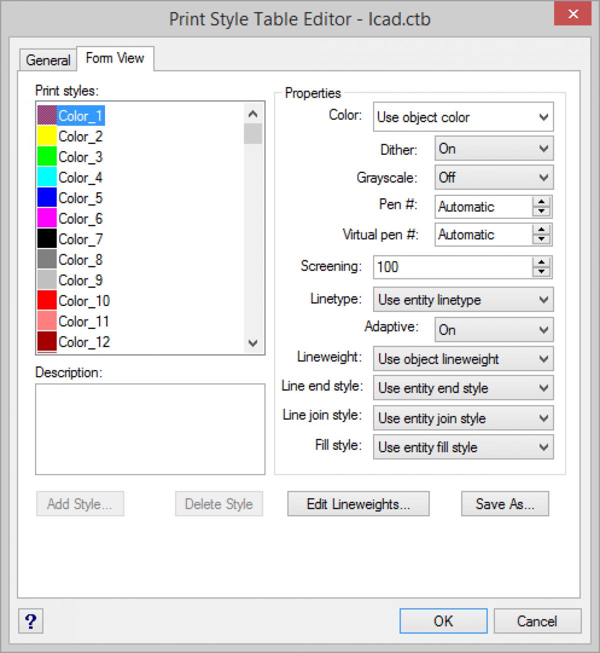 IntelliCAD - Editor de la tabla de estilo de impresión